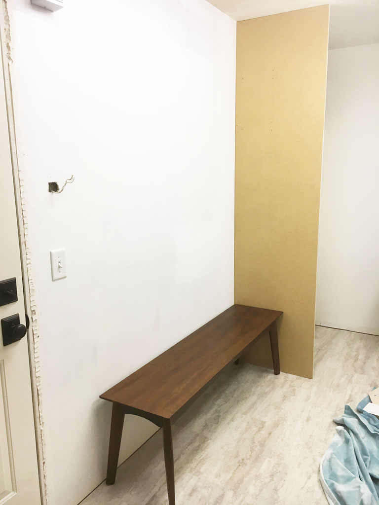 Mudroom coat storage partition progress