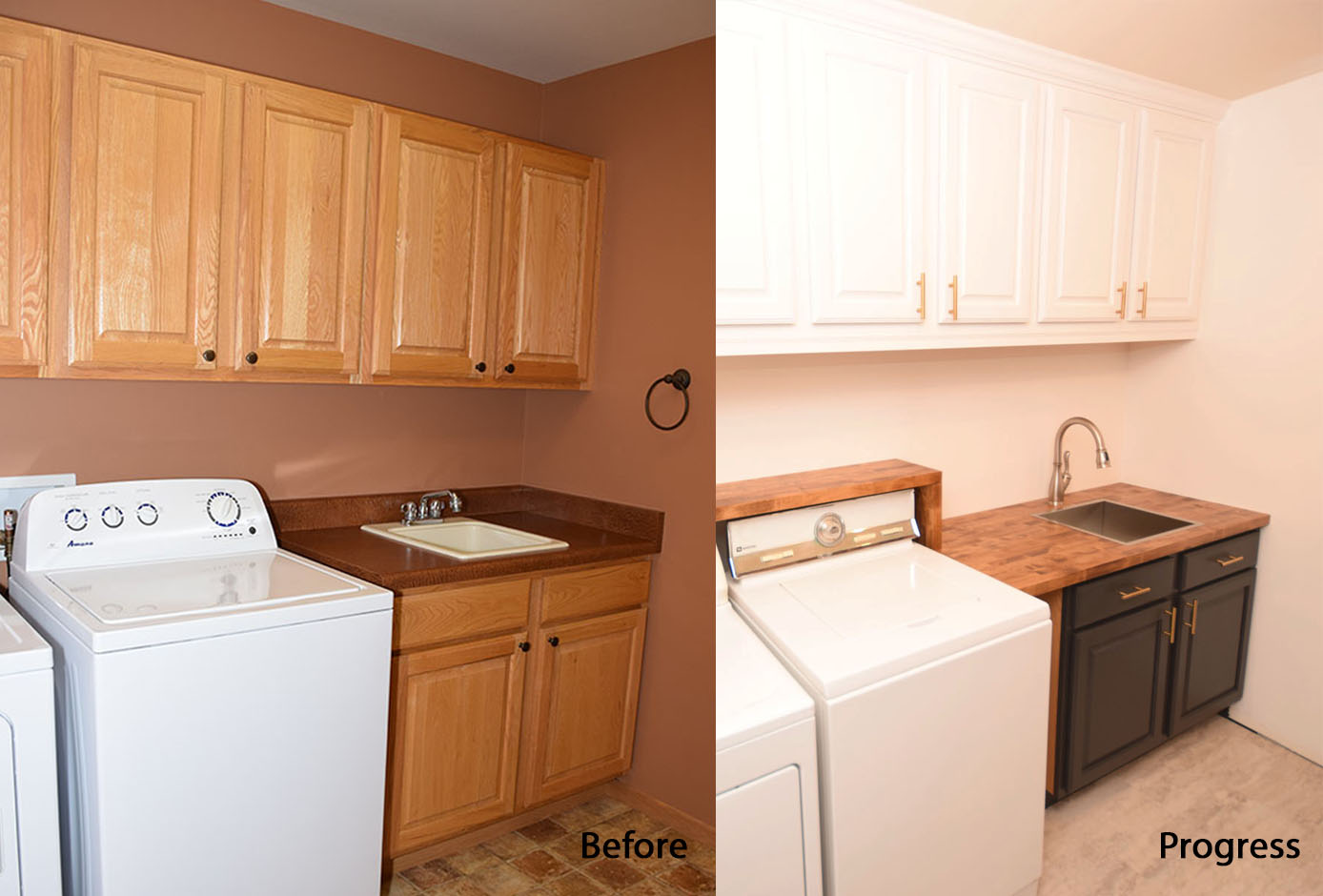Mudroom Cabinets Before After Progress