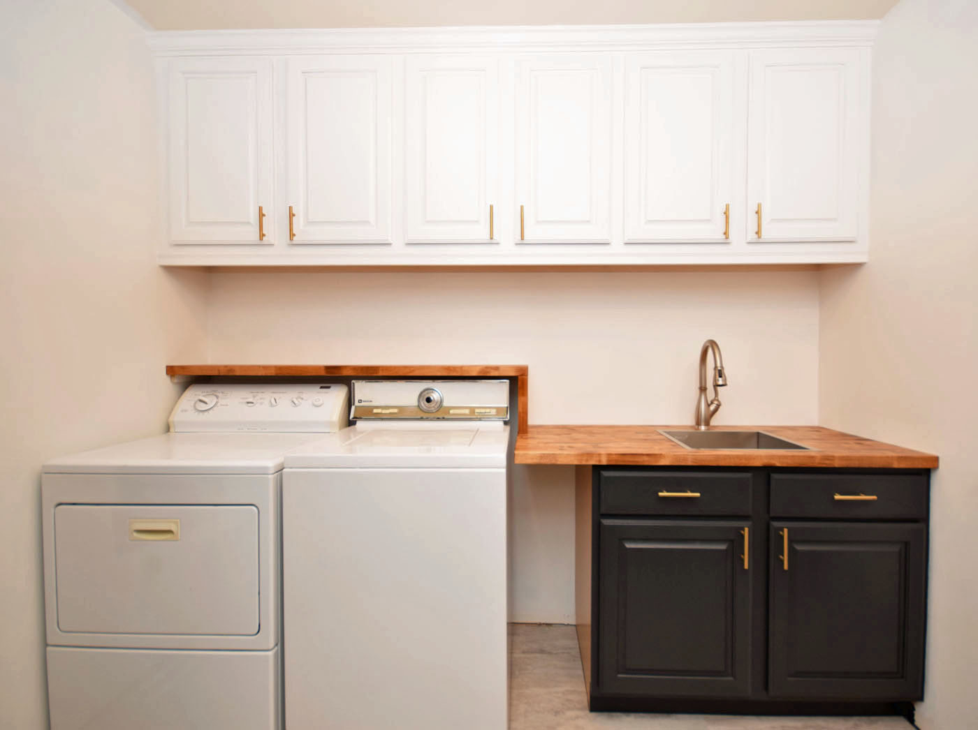 Mudroom Cabinets Painted Hardware Butcher Block Counter