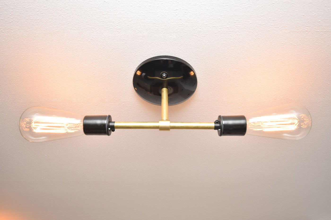 One Room Challenge Week 4 Mudroom Ceiling New Light Fixture Black Brass Vintage Bulb