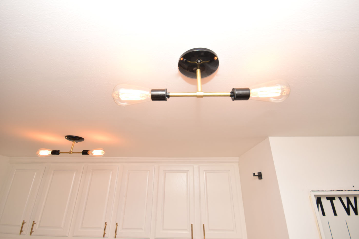 One Room Challenge Week 4 Mudroom Ceiling Painted New Light Fixtures Black Brass Vintage Bulbs