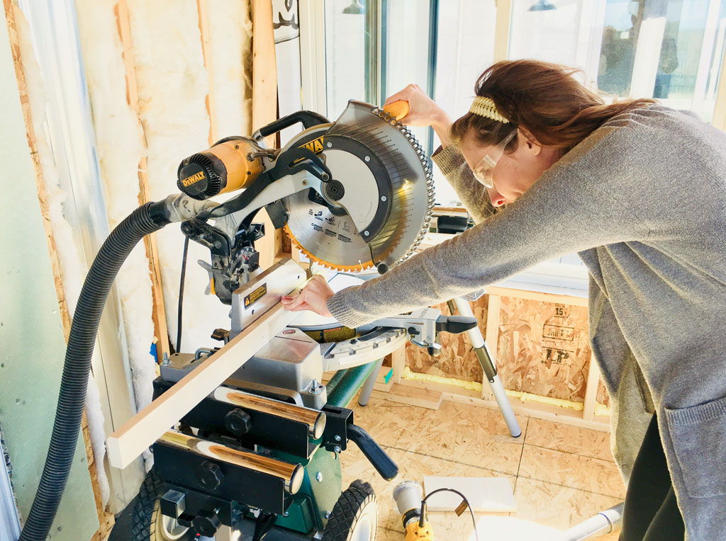 One Room Challenge Week 4 Mudroom Mirror Frame Cutting Miter Saw